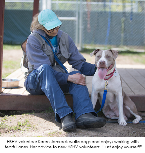 Volunteer Karen Jamrock with dog
